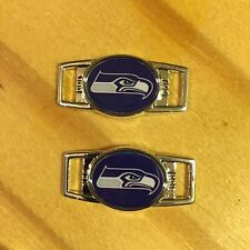 PAIR OF OVAL NFL SEATTLE SEAHAWKS BLUE SHOELACE PARACORD BRACELET CHARMS