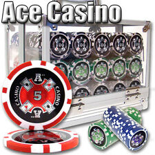 NEW 600 PC Ace Casino 14 Gram Clay Poker Chips Set Acrylic Carrier Pick Chips