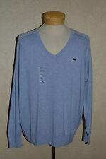 NWT Lacoste XL Cotton/Cashmere Eau Chine Lt Blue V-Neck Sweater AH6748 51 V7M T7