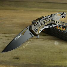 TAC Force Gray Camo Spring Assisted Part Serrated Tactical Folding Knife 705GC