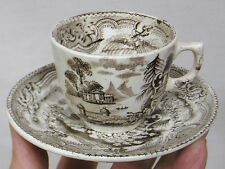 Vintage LOT Cup and Saucer Mycenae Pattern Brown Transferware