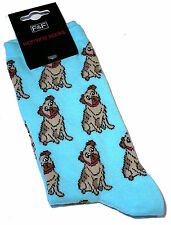 LADIES AQUA BLUE MULTIPLE PUG DOG SOCKS ONE SIZE  BNWT
