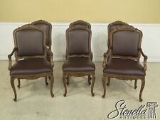 L28052E: Set Of 6 French Louis XIV Style Leather Dining Room Chairs