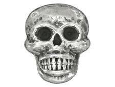 6 Scary Skull Metal Buttons 11/16 inch ( 17 mm ) Antique Silver Color