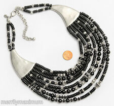 Chico's Signed Bib Necklace Silver Tone Black & Bali Multi Strand Beads