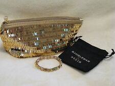 Baublebar Gold Pyramid & Crystal Bracelet w/ Stila Sequin Clutch Bag Beautiful!