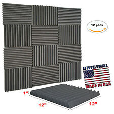 "12 Pack Acoustic Wedge Studio Soundproofing Foam Wall Tiles 12"" X 12"" X 1"" USA"