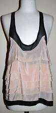 Patterson J Kincaid Silk Two Tone Sheer Racerback Top Sz Med