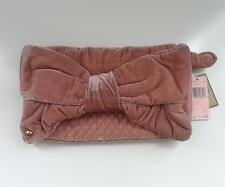 $198 AUTHENTIC JUICY COUTURE DAMSEL PINK BOW VELVET VELOUR CLUTCH WALLET BAG LRG