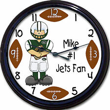 New York Jets Personalized Custom #1 Fan Wall Clock NFL Football Smith New 10""