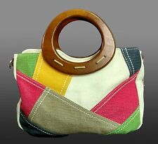 Relic by Fossil woven fabric patchwork purse wood handles vinyl trim hand bag EU