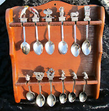16 SOUVENIR 3D SPOONS VARIOUS LOCATIONS WOODEN HOLDER INCLUDED