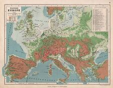 1889 ANTIQUE MAP WESTERN EUROPE WITH HEIGHTS OF PEAKS AND PASSES