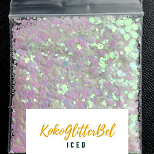 Iridescent White Glitter Hex Mix | 1 TSP | Holographic Acrylic Gel Nail Art