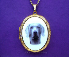 Cute Porcelain Gray WEIMARANER DOG CAMEO Costume Jewelry Locket Pendant Necklace