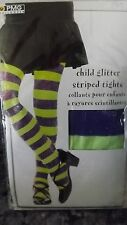 NEW GIRLS STRIPED GLITTER TIGHTS HALLOWEEN WITCH COSTUME PURPLE & LIME GREEN