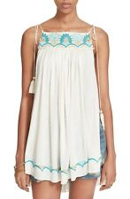 4089 New Free People White Heat Wave Embroidered Embellished Tunic Top M 8