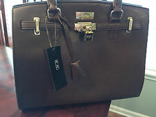 Women's BCBG Paris Chic Story Lock Tote in Brown Handbag