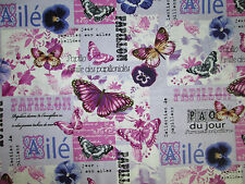 Paris Butterfly French Overall Butterflies Cotton Fabric FQ