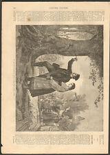 ALLEMAGNE SOUVENIR D' AMOUR COEUR GRAVE DANS UN ARBRE GRAVURE 1866