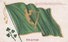 Antique ST. PATRICK'S DAY POSTCARD c1907 Gold Harp Green Flag Erin Emb. 15166