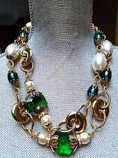 ~BREATHTAKING! MASSIVE Vtg LAWRENCE VRBA Pearl Gripoix Cabochon NECKLACE Signed