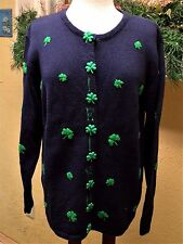 Quacker Factory M IRISH Shamrock Cardigan Sweater Navy/Green St Patrick's Day