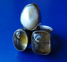 vintage 925 STERLING SILVER pearl & clear yellow stone big ring size 8 1/4 -C460
