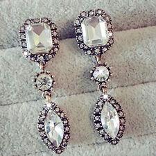 Mode Lang Ohrringe Damen Silber plattiert Ohrhänger Zirkonia Strass Ohrstecker