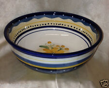 "TABLETOPS GALLERY BELLA FLORA 10"" ROUND VEGETABLE BOWL YELLOW FLOWERS BLUE BANDS"