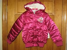 DISNEY STORE Pink Princess Puffer Coat Jacket Fur Hood Girls Small 5-6 NWT