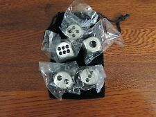5 Stainless Steel Metal Dice With Pouch