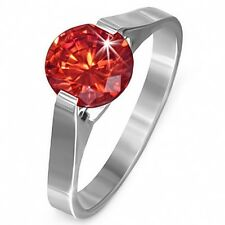 Stainless Steel Compression Set Ring July Ruby Red CZ Sz 7 s78