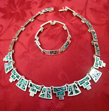 """925 STERLING SILVER VINTAGE 18.5"""" MALACHITE INLAY CHIPS HEAVY NECKLACE MEXICO"""