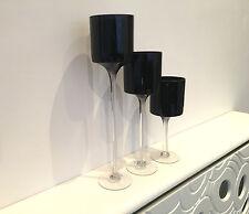 Set di 3 Luce Nero Elegante Vetro Candela Wedding tavolo caratteristica principale