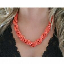 Coral Red Seed Bead Braided Multi Strand Twisted Necklace 21 Inches