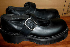 WOMENS DR MARTENS MADE ENGLAND BLACK LEATHER MARY JANE BUCKLE SHOES 6 OR US 8