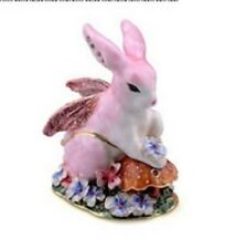 Fairy Pink Rabbit Enamelled Treasures Trinket Box with Necklace
