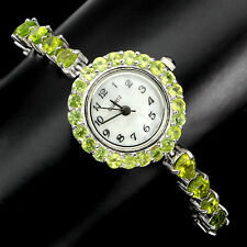 Sterling Silver 925 Genuine Natural Apple Green Peridot Watch 7.5 Inches
