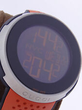 Gucci I-Gucci Sport XXL Digital Black Dial Orange Rubber Mens Watch YA114104