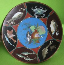 """Superb Antique Chinese Cloisonne Fish Crab Turtle Clam Fruit 12"""" Charger Plate"""