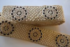 INDIAN GOLD AND BLACK BEADED TRIM WITH CRYSTALS AND PEARL IN PAISLEY