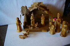 HAND CARVED OLIVE WOOD 17-PC NATIVITY BETHLEHEM