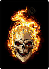 "#408 (1) 3"" Custom Flaming Skull Decal Motorcycle Sticker Vinyl Black"