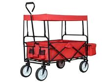 Red Folding Wagon Collapsible Cart w/Canopy Utility Outdoor Garden Sports Beach