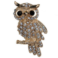 Fashion Gold Plated Owl Shiny Crystal Lady Jewelry Rhinestone Brooches