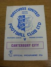 30/08/1983 Hastings United v Canterbury City [Southern League Cup] (Marked). Tha