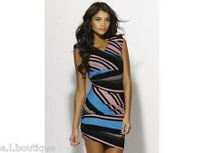 Miss Sixty Millie blue black pink striped gathered padded dress BNWT Large 12 14