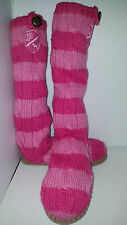 RARE Victoria Secret Pink Mukluks Knit Boots Booties Socks Slippers Sz Large 9/1