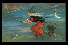 SALEM BLACK CAT BROOM WITCH FLYING HALLOWEEN SCARY VINTAGE POSTER REPRO SMALL